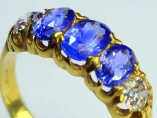 約0.9ctサファイアとオールドカットダイヤ【商品番号r106】f